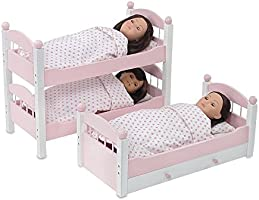 Emily Rose 18 Inch Doll Bed Furniture Pink And White Triple Bunk Bed Includes 3 Stackable Single Beds And Doll Clothes Storage Trundle Drawer Fits 18 American Girl Dolls Buy