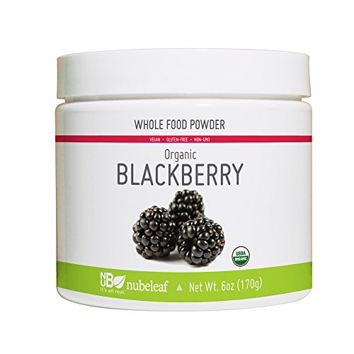 Nubeleaf Blackberry Powder - Non-GMO, Gluten-Free, Raw, Organic, Vegan Source of Essential Vitamins & Minerals - Single-Ingredient Nutrient Rich Superfood for Cooking, Baking, Smoothies (6 oz Jar)