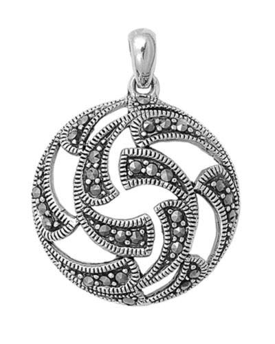 Pendant Simulated Marcasite .925 Sterling Silver Cutout Charm