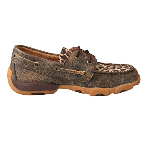 Image of Twisted X Kid's Driving Moccasins Distressed/Leopard - Low-Cut Outdoor Casual Footwear 6M US