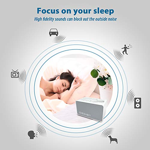 DB DEGBIT White Noise Machine, Plug in Or Battery Powered (Included) - 8 Classic & Nature Sounds, Baby Sound Machine with Timer, Sleep Therapy Speaker for Sleeping, Office Privacy, Relaxing