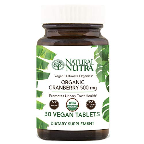 Natural Nutra Organic Cranberry Extract Supplement, Vegan and Vegetarian, Pills for Kidney Cleanse, UTI Relief, Inflammation and Antioxidant Support, 30 Tablets, One Month Supply ()
