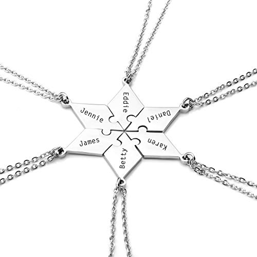 Personalized Master Free Engraving Custom Stainless Steel 5/6 Pieces Best Friends BFF Family Necklaces Keychains Friendship Puzzle Piece Charm Pendant Necklace Set (Charm Set Necklace)