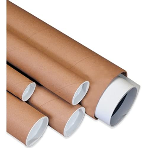 """Hot Aviditi P2060K Spiral Wound Fibreboard Mailing Tube with Cap, 60"""" Length x 2"""" Width, 0.080"""" Thick, Kraft (Case of 50) for cheap"""