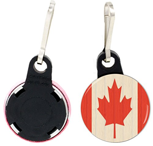 Rikki Knight Canada Flag on Distressed Wood Design 1 inch Zipper Pull Button (set of 4) - Flag Zipper Pull