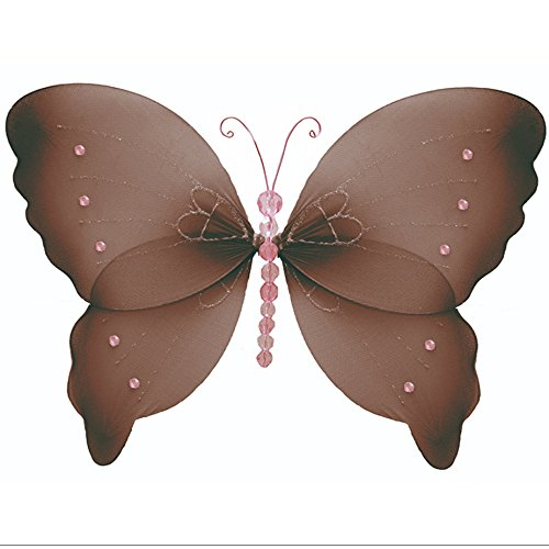 Nylon Butterfly Medium 10 Brown Pink Crystal Hanging Mesh Butterflies Decorations - Butterfly Decor For Girls Bedroom, Baby Nursery, Home, Playroom, Wedding, Wall & Ceiling by Bugs-n-Blooms