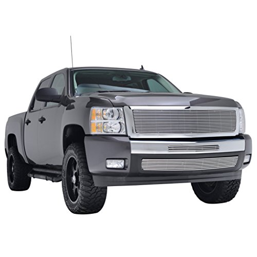 EAG Billet Replacement Upper Grille and Centre Grille and Bumper Grille for 07-13 Chevrolet Silverado 1500