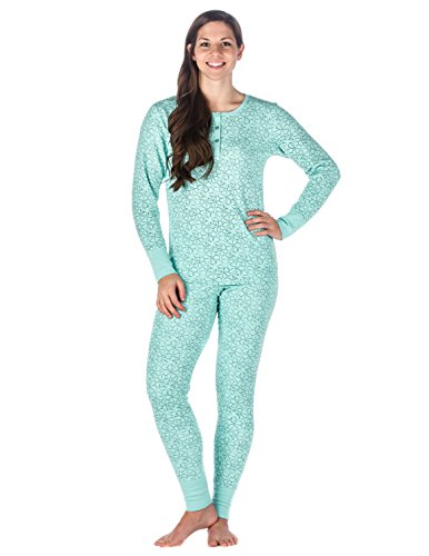 - Womens Waffle Knit Thermal Sleep Set - Floral - Aqua - X-Large