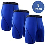 LUWELL PRO Men's 3 Pack Compression Shorts Baselayer Cool Dry Sports Tights Shorts for Running,Workout,Training(3Blue,L)