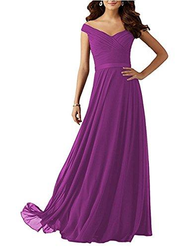 Cap Sleeves Purple Women's DreHouse Chiffon Gowns Dresses Prom Bridesmaid Long Pleats 2018 PqEBta