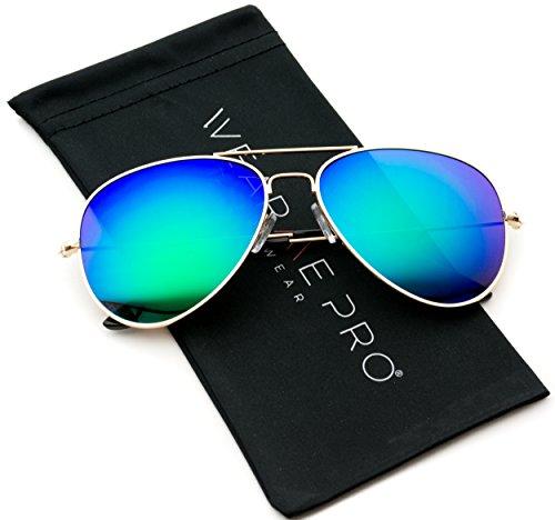 Premium Polarized Full Mirrored Aviator Sunglasses w/ Flash Mirror Lens (Flashing - Green Aviators Mirrored