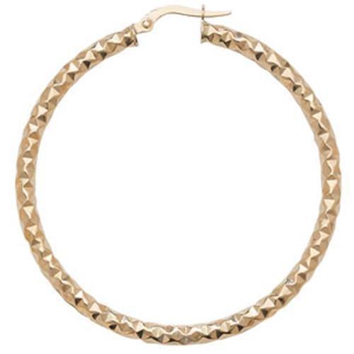 Or 9ct Coupe Diamant Boucles d'oreilles créoles 40mm