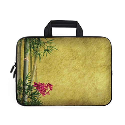 Bamboo Laptop Carrying Bag Sleeve,Neoprene Sleeve Case/Wild Orchides with Bamboo Leaves on Old Antique Paper Floral Asian Style Art/for Apple MacBook Air Samsung Google Acer HP DELL Lenovo AsusYellow