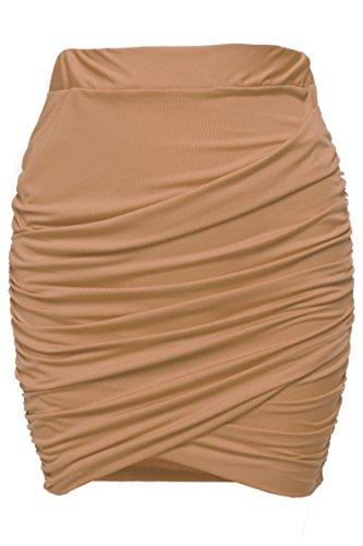 Zeagoo Women's Basic Stretch Cotton Bodycon Tube Mini (Khaki Cotton Mini Skirt)
