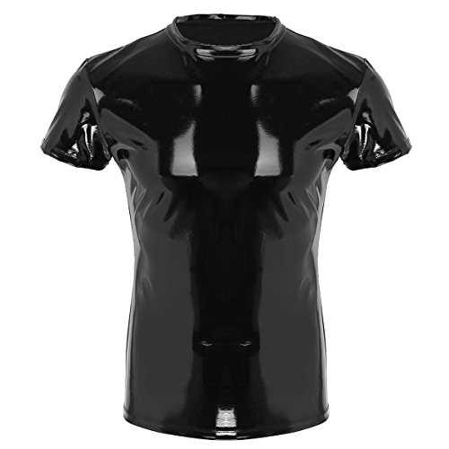 TiaoBug Men's Wet Look Faux Leather Short Sleeve Tank Top Clubwear Tight T-Shirt Black XX-Large