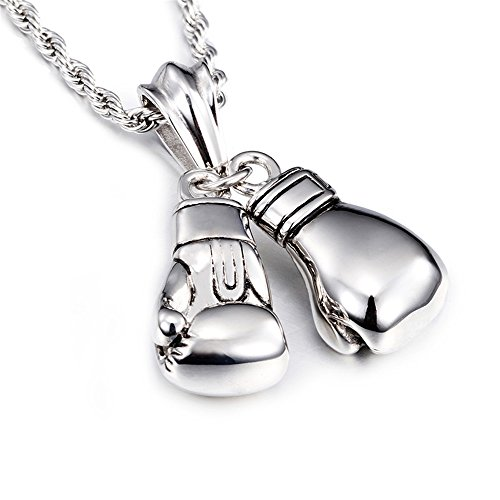 Men's Stainless Steel Silver Pair Boxing Gloves Pendant Necklace Bonnie (SP0058)