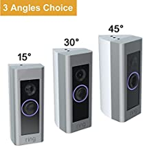 CAVN 3-Pack Adjustable ( 15 to 45 Degree ) Ring Video Doorbell Pro Angle Mount, Premium Quality Corner Kit Angle Adjustment Adapter Mounting Plate Bracket Wedge Kit for Ring Video Doorbell Pro (More angle choices), White