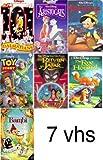 disney pack 7 vhs: Toy Story, Walt Disney Masterpiece, Pinocchio, Fox and the Hound, Aristocats, 101 Dalmatians ,Bambi, Return of Jafar