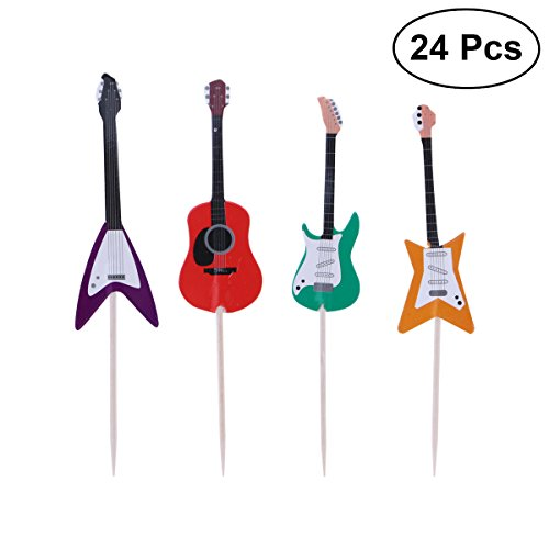- TINKSKY Guitar Cupcake Toppers Musical Instrument Shape Cupcake Decorating Tools for Party Supplies 24pcs