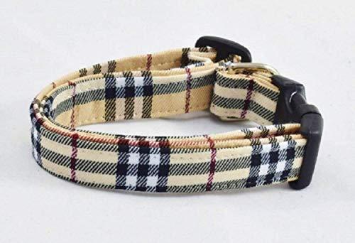 FURBERRY Tan Plaid DOG COLLAR Size Medium in Designer Fashion Nova Check (Dog Collars Burberry)