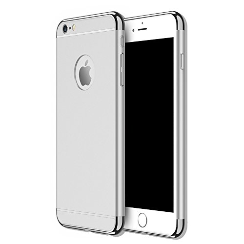 3 in 1 Hard Case, Electroplate Ultra-Thin Shockproof Protective PC Cover for iPhone 5 5S SE 4.0 inch (Silver) ()