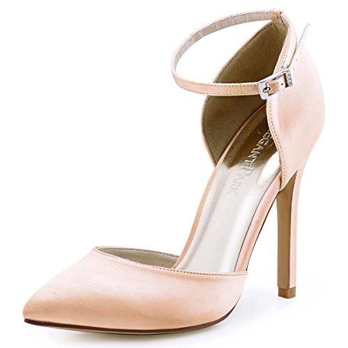 Heel Dyeable Satin Bridal Shoe (ElegantPark HC1602 Women's Pointed Toe High Heel Ankle Strap D'orsay Pumps Satin Wedding Dress Shoes Blush US 7.5)