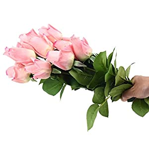 FiveSeasonStuff 10 Stems of Real Touch Silk Roses 'Petals Feel and Look like Fresh Roses' Artificial Flower Bouquet for Wedding Bridal Office Party Home Decor (Dark Pink) 3
