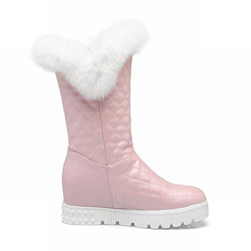 Tonen Glans Womens Verborgen Wiggen Hiel Casual Mid Kalf Snowboots Roze
