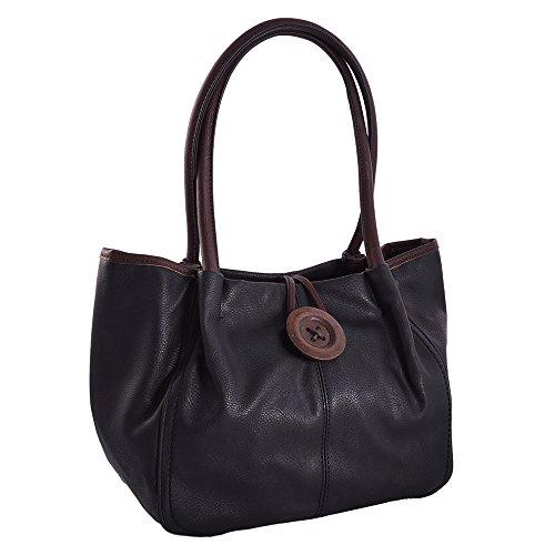 LeahWard? Women's Designer Quality Faux Leather Wood Button Shoulder Bag Women's Stunning Flexible Handbag CWRX140731 CWRS14131-Black