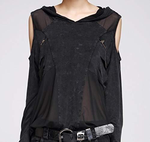 Nite closet Punk Tshirts for Women Steampunk Tops Cut Out Cool Shoulder Shirts Black 4