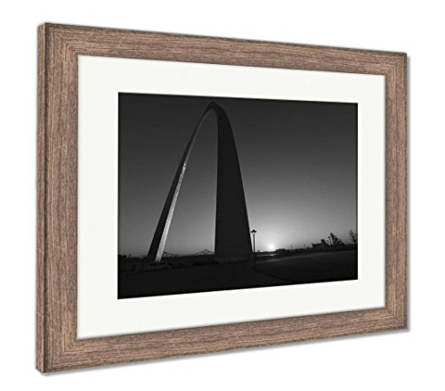 Ashley Framed Prints Gateway Arch In St Louis Missouri, Wall Art Home Decoration, Black/White, 26x30 (frame size), Rustic Barn Wood Frame, AG6543256 - Missouri Art Glass Frame