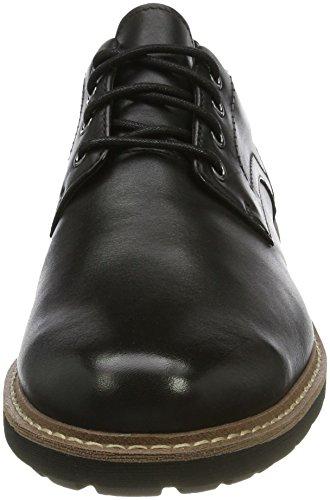 Clarks Black Leather Scarpe Hall Nero Uomo Derby Batcombe Stringate r6w4qxrO
