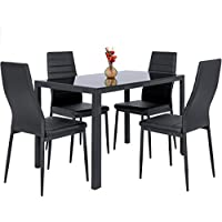 Deals on Best Choice Products 5 Piece Kitchen Dining Table Set W/ Glass Top