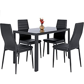 Amazoncom VECELO Dining Table with 4 Chairs Black KitchenDining