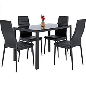 best choice products 5 piece kitchen dining table set w glass top and 4 leather. Black Bedroom Furniture Sets. Home Design Ideas