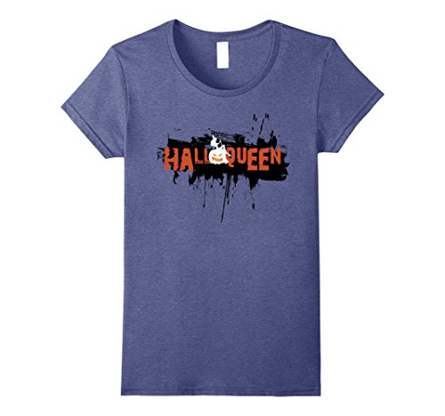 Womens Halloween Costume T-Shirt - Halloqueen Shirt Small Heather Blue - Mom N Son Halloween Costumes