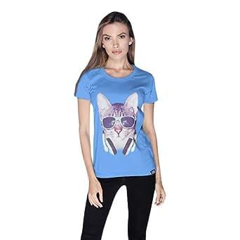 Cero Cool Cat Retro T-Shirt For Women - L, Blue