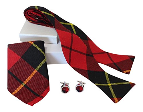 Luxury Wallace Red Tartan Classic Self Tie Bow Tie, Pocket Square and Silver Cufflink Set