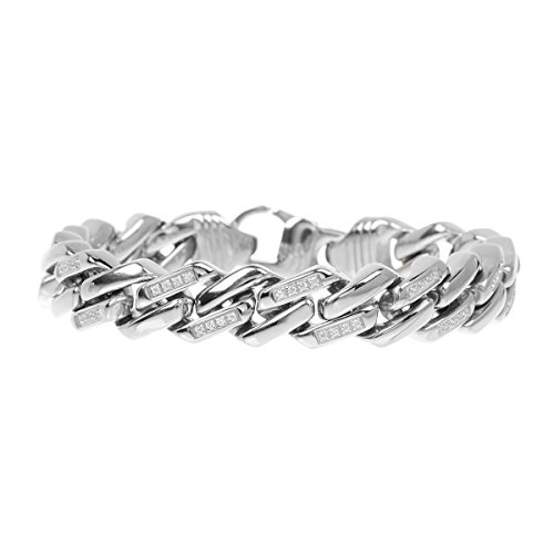 Blackjack Jewelry Men's Stainless Steel CZ Encrusted Cuban Link Bracelet by Blackjack Jewelry