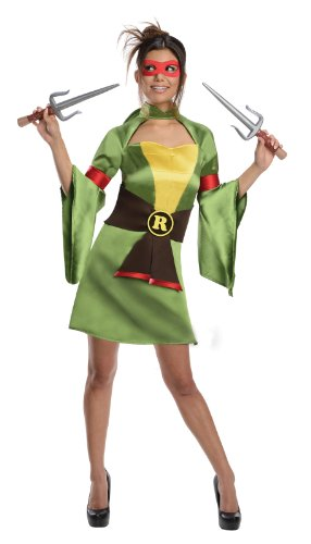 1950's Costumes For Adults - Secret Wishes Teenage Mutant Ninja Turtles, Raphael Costume, Green, Small