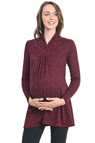 Hello MIZ Women's Sweater Knit Maternity Long Sleeve Tunic Top (Small, Wine)