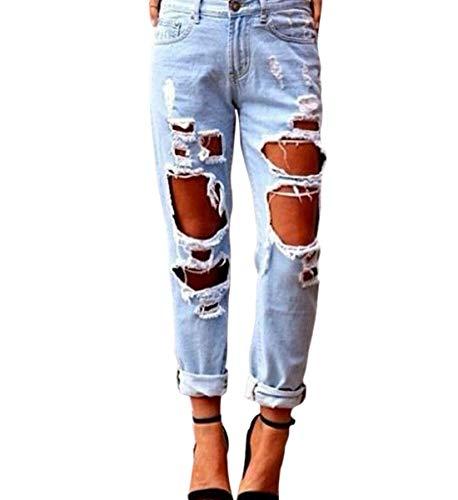 Tasca E Buco Pantaloni 1 Xsayjia Strappato Cerniera Jeans Harem Hop Donna Hip Lavato gqgzSaRvwc