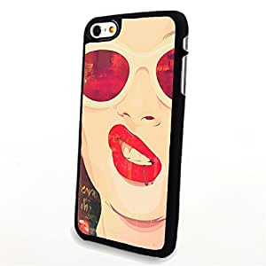Generic Phone Accessories Matte Hard Plastic Phone Cases Sexy Woman with Red Sunglasses and Lip fit for Iphone 6 Plus