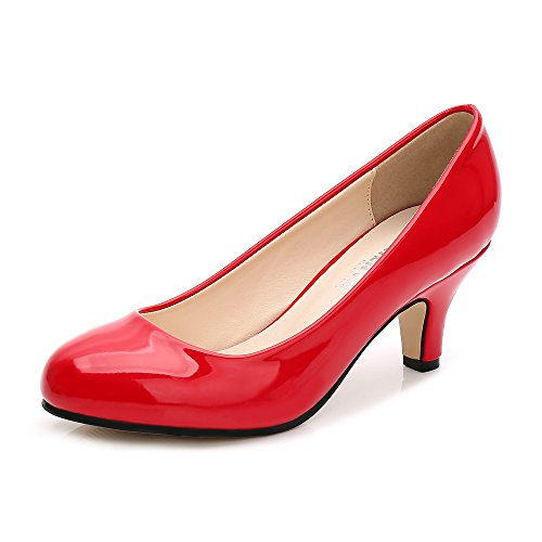 Women's Slip On Low Ochenta Round patent Pump Kitten Heel Toe Closed Dress Red dnnxaqH0