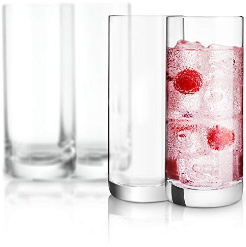 JoyJolt Stella Lead Free Crystal Highball Glass 14.2-Ounce Barware Collins Tumbler Drinking Glasses For Water, Juice, Beer, And Cocktail Set Of ()