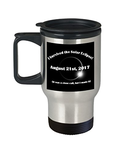 2017 Solar Eclipse Funny Commemorative 14oz Insulated Travel Coffee Mug by Sunmead