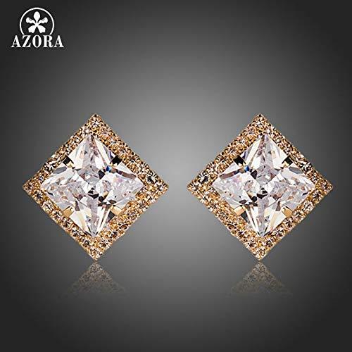 New Brightest Princess Cubic Zircon Diamante Square Stud Earrings ()