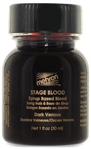 Dark Halloween Makeup (Mehron Makeup Stage Blood, DARK VENOUS - for Special Effects| Halloween| Movies - 1 oz Carded)