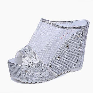 LvYuan Mujer-Tacón Cuña-Confort-Zapatillas y flip-flop-Oficina y Trabajo Vestido Informal-PU-Negro Oro Plata sliver