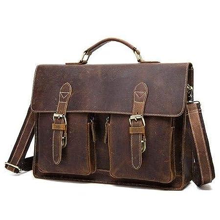 Vintage Crazy Horse Genuine Leather Bag lawyer Men Briefcases Male Shoulder Laptop Bag for document Handbags Totes 1081